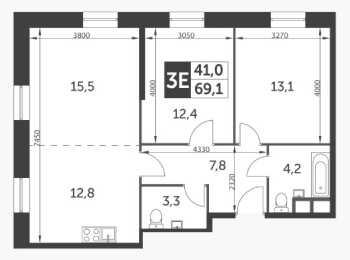 планировка 3-комнатной квартиры